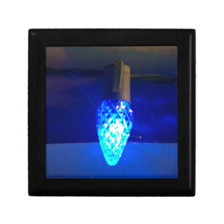 Solitary Bright Blue Christmas Light Gift Box
