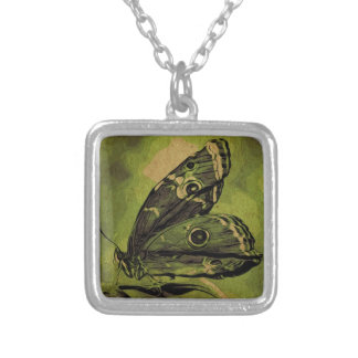 Solitary butterfly silver plated necklace