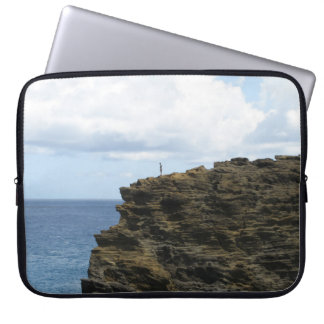 Solitary Figure on a Cliff Laptop Sleeve