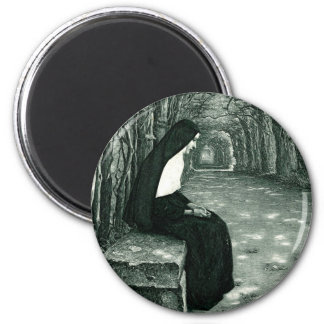 solitary nun 2 inch round magnet