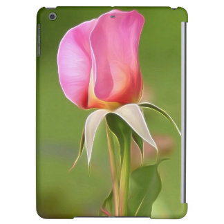 Solitary pink rose bud case for iPad air