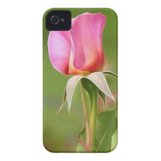 Solitary pink rose bud iPhone 4 cover