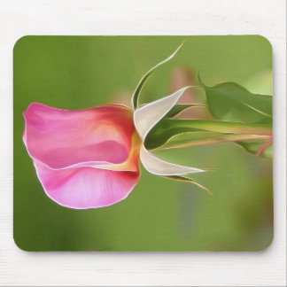 Solitary pink rose bud mouse pad