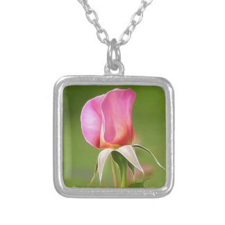 Solitary pink rose bud silver plated necklace