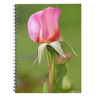 Solitary pink rose bud spiral notebook
