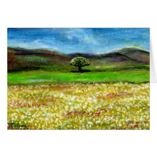 SOLITARY TREE IN THE YELLOW FLOWER FIELD,TUSCANY CARD