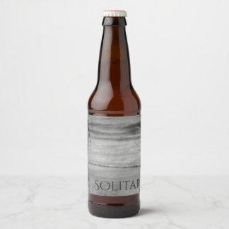 Solitary Walking The Beach Shoreline Black & White Beer Bottle Label