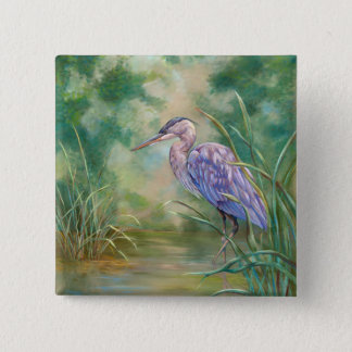 """""""Solitude"""" - Blue Heron Pastel Painting 2 Inch Square Button"""