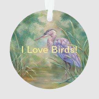 """Solitude"" - Blue Heron Pastel Painting Ornament"
