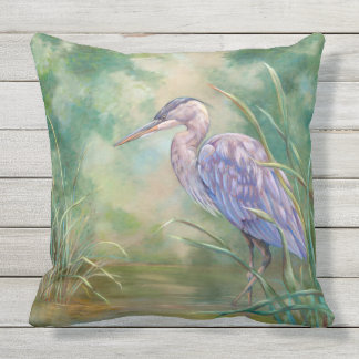 """Solitude"" - Blue Heron Pastel Painting Throw Pillow"