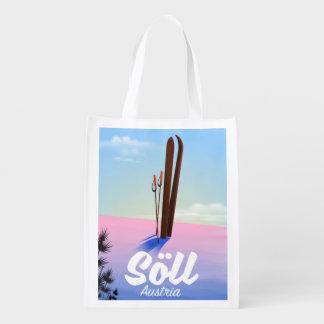 Söll, Austria Ski travel poster Reusable Grocery Bag