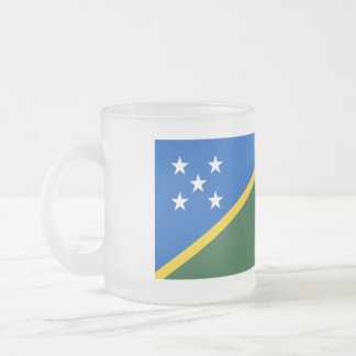 Solomon Islands Flag Frosted Glass Coffee Mug
