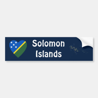 Solomon Islands Flag Heart + Map Bumper Sticker