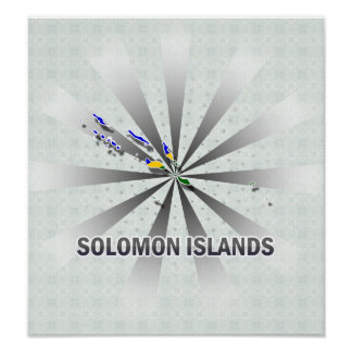 Solomon Islands Flag Map 2.0 Poster