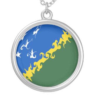 Solomon Islands Gnarly Flag Round Pendant Necklace