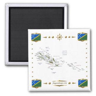 Solomon Islands Map + Flags Magnet