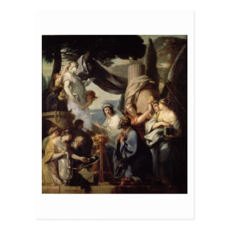 Solomon making a sacrifice to the idols postcard
