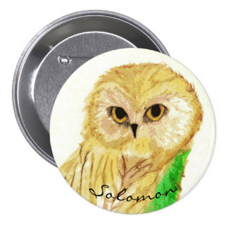 Solomon the Wise Owl From the Sara Books 3 Inch Round Button