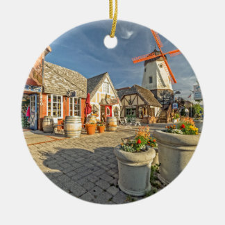 Solvang Windmill View Round Ceramic Ornament
