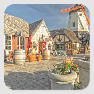 Solvang Windmill View Square Sticker