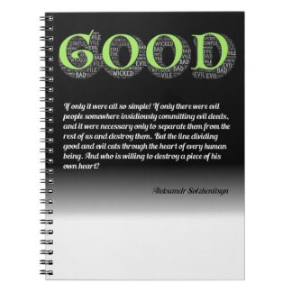 Solzhenitsyn Line Between Good and Evil Quote Notebook
