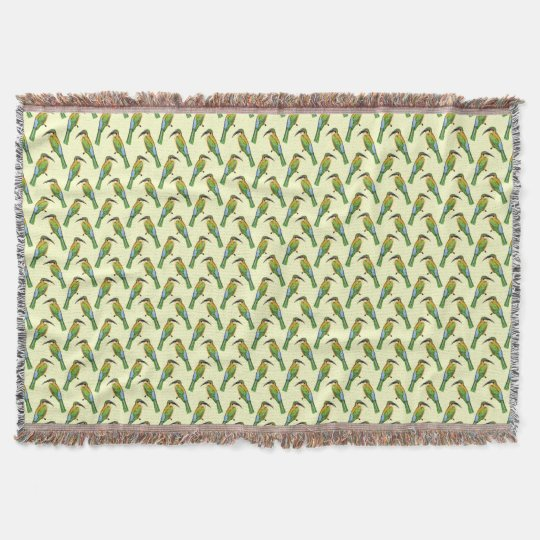 Somali Bee-eater Vintage Bird Pattern Throw
