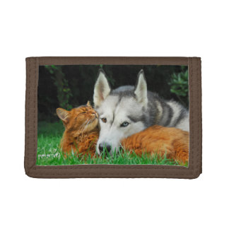 Somali cat and Siberian Husky cute friends huddle Trifold Wallet