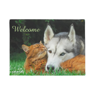 Somali Cat  Husky Cute Friends Huddle Love Welcome Doormat