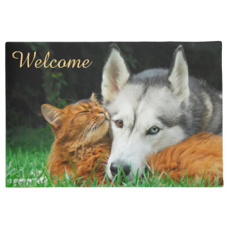 Somali Cat  Husky Cute Friends Huddle Love Welcome Doormat
