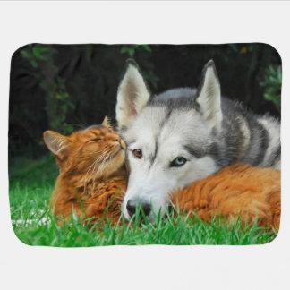 Somali Cat Siberian Husky Cute Friends Huddle Love Baby Blanket