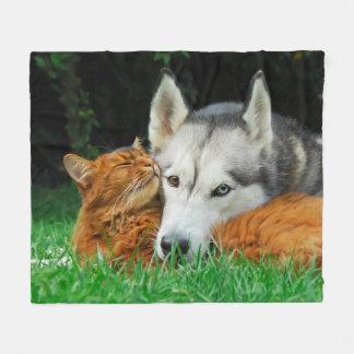 Somali cat Siberian Husky cute friends huddle up - Fleece Blanket