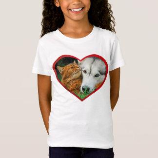 Somali Cat Siberian Husky Cute Friends Love Heart T-Shirt