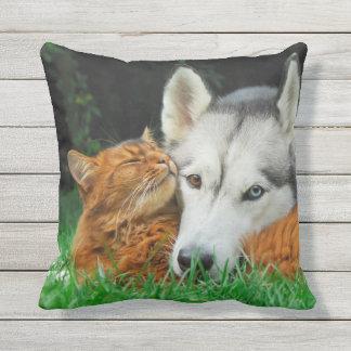 Somali cat Siberian Husky cute friends - Outside Throw Pillow