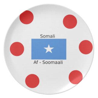 Somali Language And Somalia Flag Design Plate