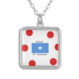 Somali Language And Somalia Flag Design Silver Plated Necklace