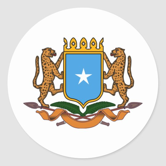 Somalia coat of arms classic round sticker