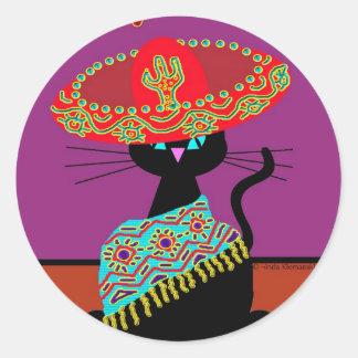 Sombrero Cat Aunt Classic Round Sticker
