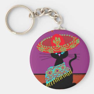 Sombrero Cat Godmother Basic Round Button Keychain