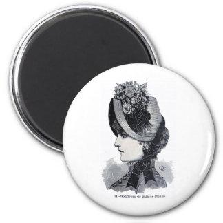 Sombrero de paja de Manila 2 Inch Round Magnet