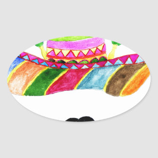 Sombrero Hat Watercolor Oval Sticker