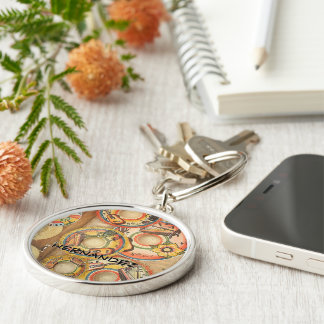 Sombreros monogram Silver-Colored round keychain