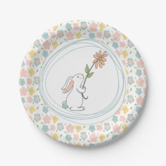 Some Bunny Floral Birthday Plates