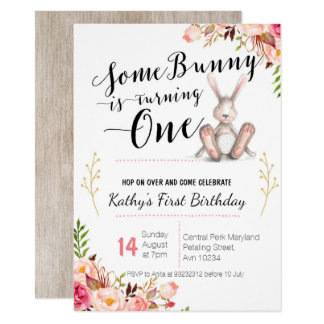 Some Bunny is Turning One Birthday Invitation