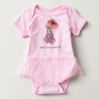 """Some-bunny loves me!"" Baby Pink Tutu Body Suit Baby Bodysuit"
