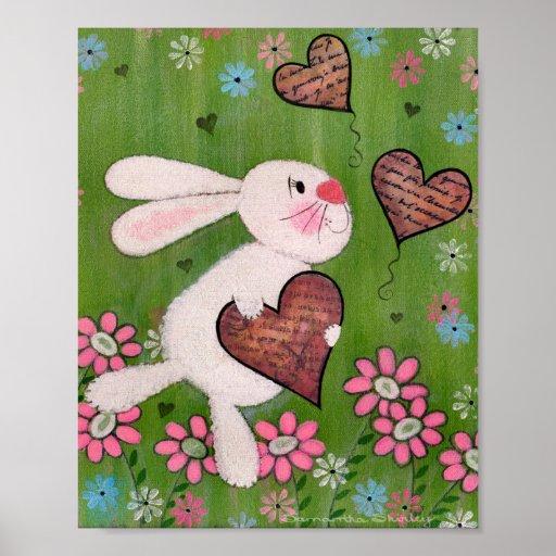 Some Bunny Loves You - 8x10 Easter Rabbit Kids Art Poster