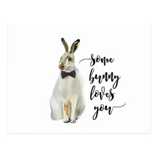 some bunny loves you postcard notecard