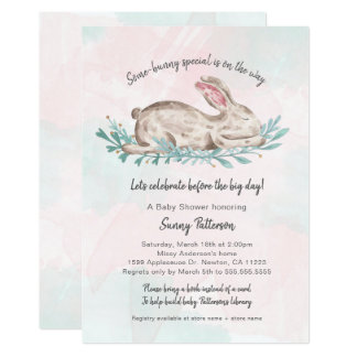 Some-bunny special book baby shower for girl card