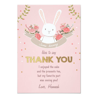 Some Bunny Thank You Card Birthday Girl Pink Gold