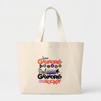 Some Grandpas Play Bingo Real Grandpas Play Hockey Large Tote Bag