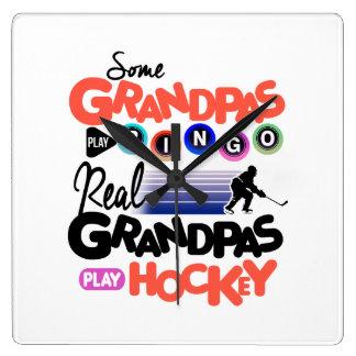Some Grandpas Play Bingo Real Grandpas Play Hockey Square Wall Clock